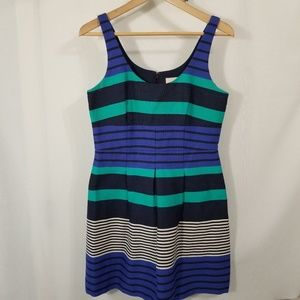 LOFT Striped Blue Sleeveless Fit And Flare Dress